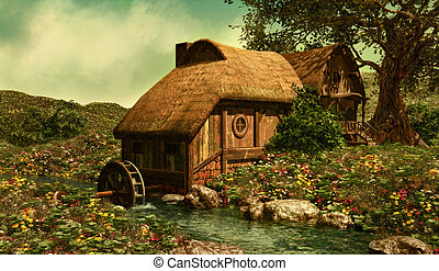 The Water Mill - a water mill on a flower meadow in the...