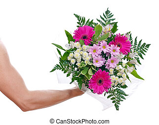 Brawny mans hand with a bouquet of flowers