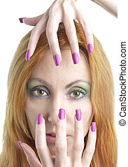 woman with a make-up and long nails