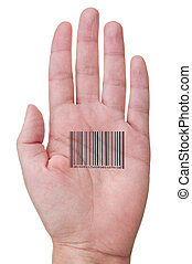Human barcode - Barcode printed across the palm of a hand