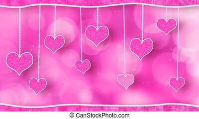 love pink hearts on strings loop