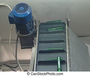 Escalator lift plastic for production PET bottles.