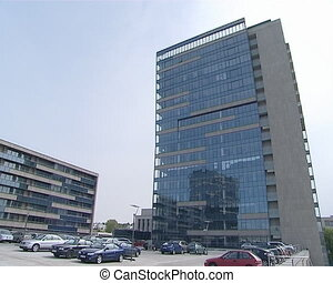 Industrial office glass building. Car parking. - Industrial...