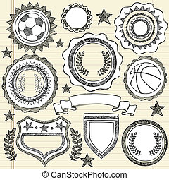 Sketchy Sports Emblem Badges Doodle - Hand-Drawn Sketchy...
