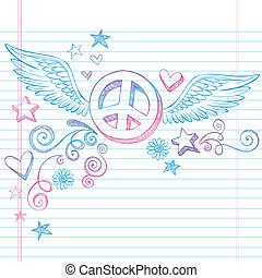 Peace Sign with Wings Doodle Vector - Hand-Drawn Back to...