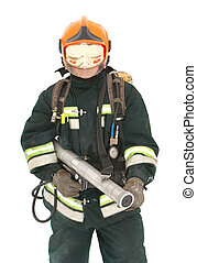The fireman in regimentals on white background