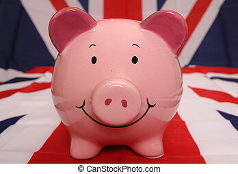Uk piggybank - piggybank on union jack flag