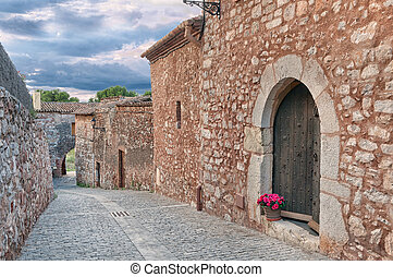 Old cobbled street, Collbato, Spain