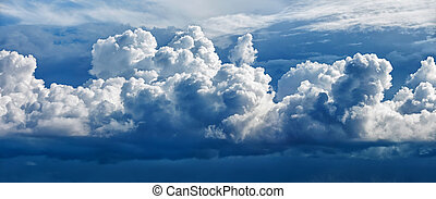 Large cumulus cloud - a panoramic photo collected from two...