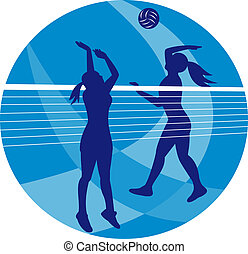 Volleyball Player Spiking Blocking Ball - Illustration of a...