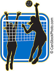 Volleyball Player Spiking Blocking - Illustration of a...