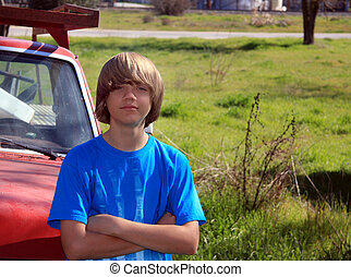 Teen and Old Truck