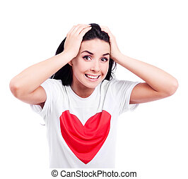 excited woman - excited young woman wearing a T-shirt with a...
