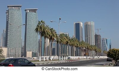 Street in the city of Doha, Qatar