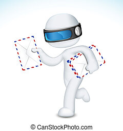 3d Man in vector with Postal Envelope