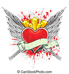 Abstract Love Background - illustration of heart with wings...