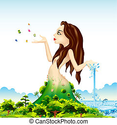 Mother Nature - illustration of lady representing mother...