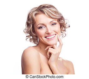 pretty woman - pretty young blond woman with curly hair,...