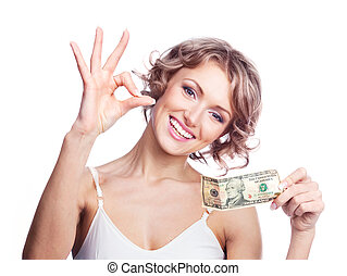 woman with money - beautiful young woman holding money and...
