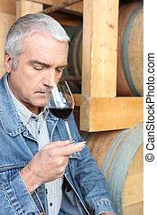 homem, cheirando, vermelho, vinho
