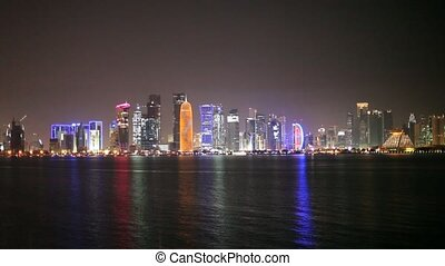 Doha skyline at night, Qatar - Doha skyline at night, Qatar,...