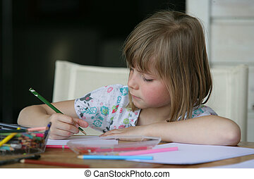 Little girl colouring