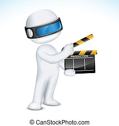 3d Man in vector with Clapper Board