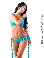 dancer with body art - beautiful brunette dancer with body...