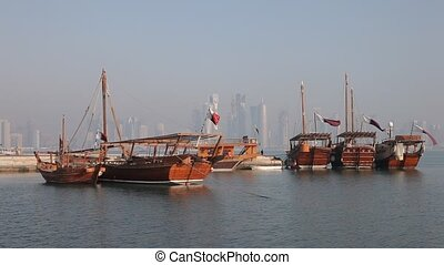Traditional arabic dhows in Doha - Traditional arabic dhows...