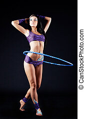gymnast with a hoop - beautiful brunette gymnast with a...