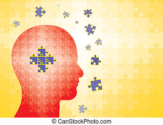 Puzzles in human head - man finding solution - Puzzles in...