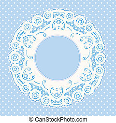 Lace Frame, Polka Dot Background - Vintage Lace Doily...