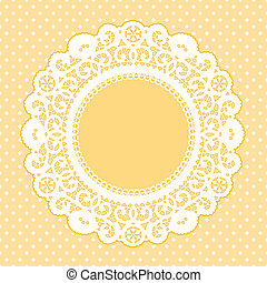 Lace Frame, Polka Dot Background
