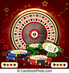 Roulette casino and chips - Roulette casino chips in the...