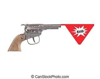 Hand Gun - A toy hand gun isolated against a white...