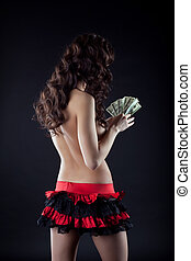 Striptease girl in red count dollars