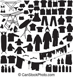 Laundry objects black and white silhouettes including...