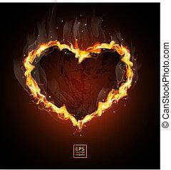 fiery heart on a black background