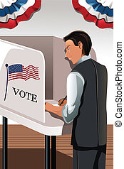 Voting man - A vector illustration of a man voting in the...