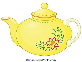 Teapot with pattern - China yellow teapot with a pattern...