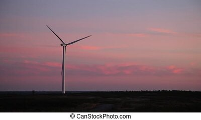 one windmill at pink sunset