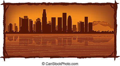 Los Angeles skyline with reflection in water