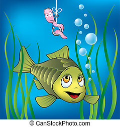 Funny fish and worm - Funny fish and scared worm