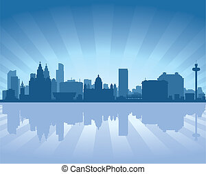 Liverpool England skyline - Liverpool, England skyline with...