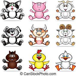 Funny pet animal - funny vector illustration of pet animals