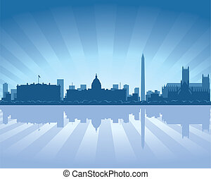 Washington skyline with reflection in water