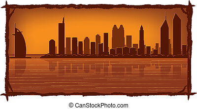 Dubai skyline with reflection in water