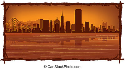 San Francisco skyline with reflection in water