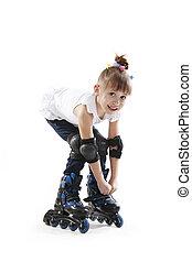 The little girl on roller skates Isolated white