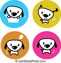 Cute dog colorful buttons isolated on white - Dog icons...